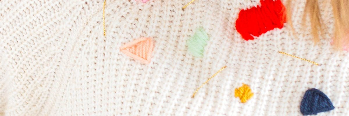 DIY Abstract Embroidered Sweater by lifestyle blogger Ashley Rose of Sugar & Cloth - Houston Influecner Blogger