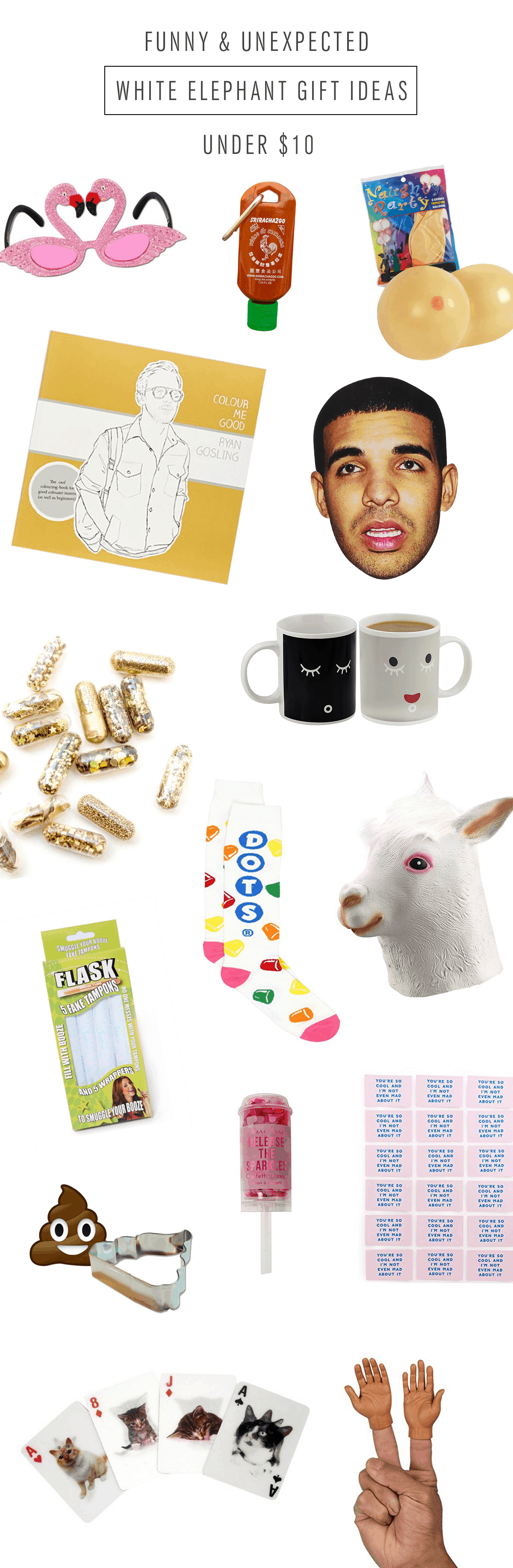 Funny and Unexpected white elephant gift ideas under $10 by Ashley Rose of the award winning DIY and lifestyle blog, Sugar & Cloth.