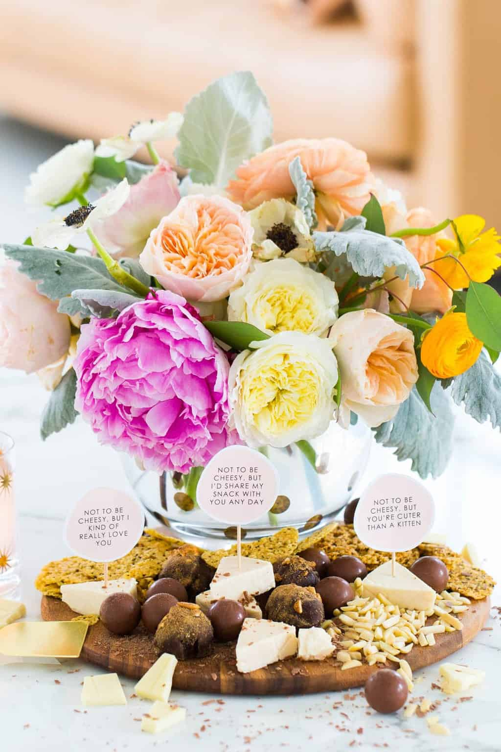 DIY Chocolate and Cheese Board Printable Love Markers by top Houston lifestyle blogger, Ashley Rose of Sugar and Cloth