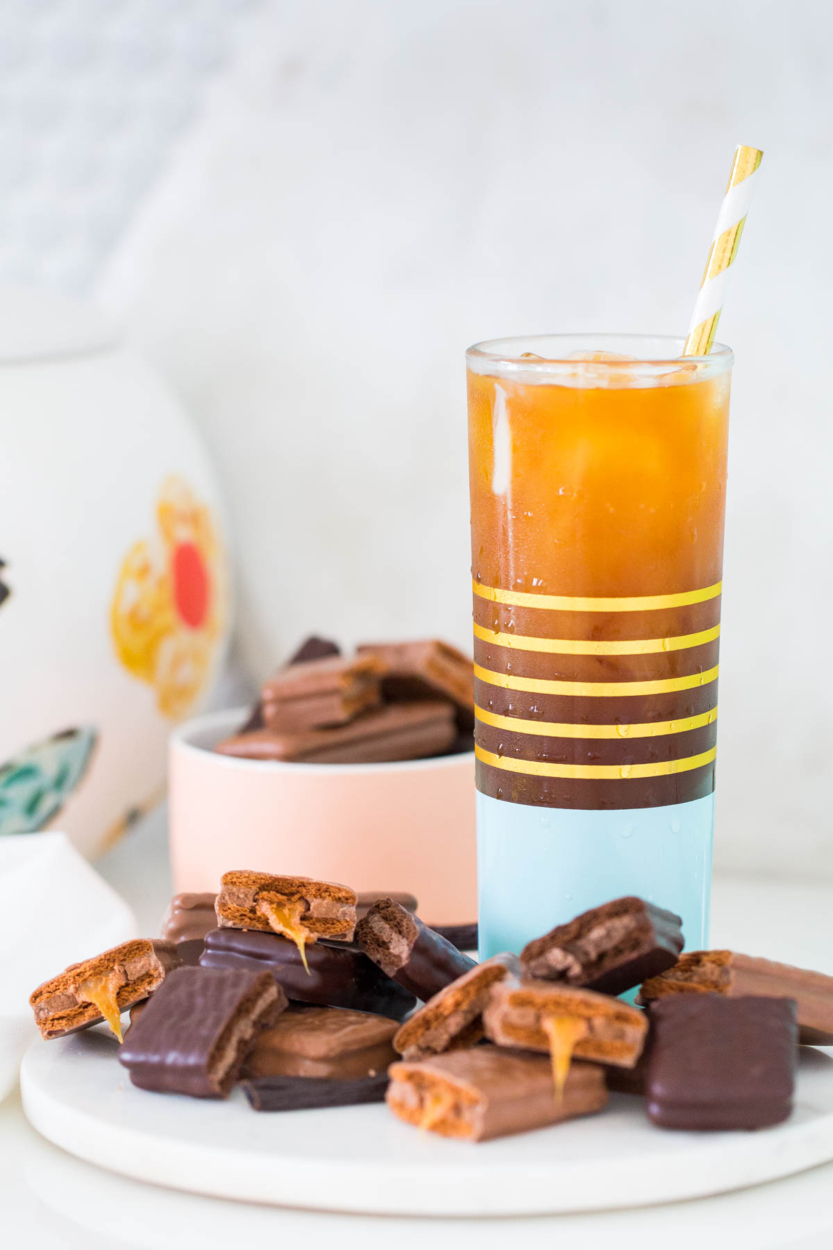 A Vanilla Bean Sparkling Iced Coffee Recipe with Tim Tam by top Houston lifestyle blogger, Ashley Rose of Sugar and Cloth
