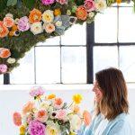 DIY Hanging Flower Wall Installation