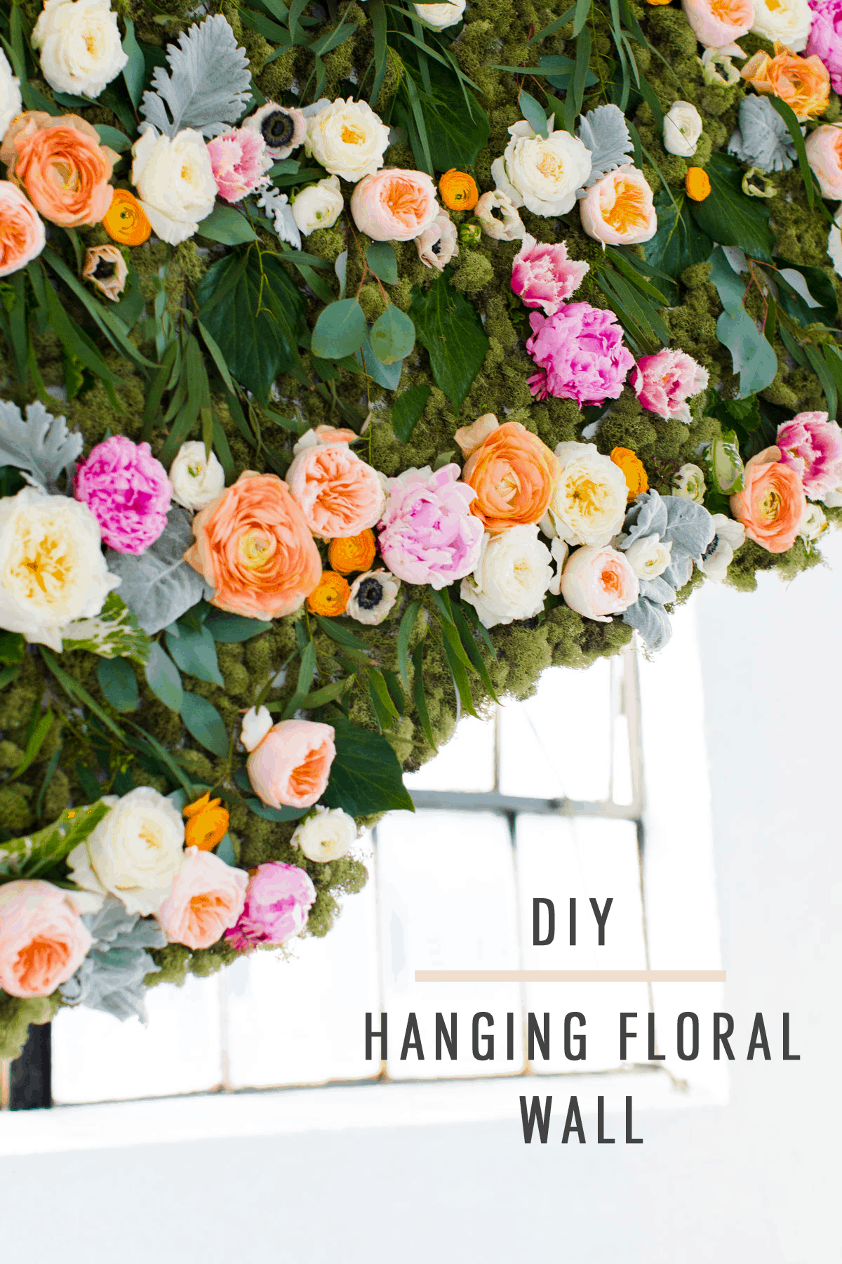 DIY Hanging Flower Wall Installation by Top Houston Lifestyle Blogger Ashley Rose of Sugar & Cloth | #diy #flowerwall #wallhanging #flower #floral #diydecor #backdrop