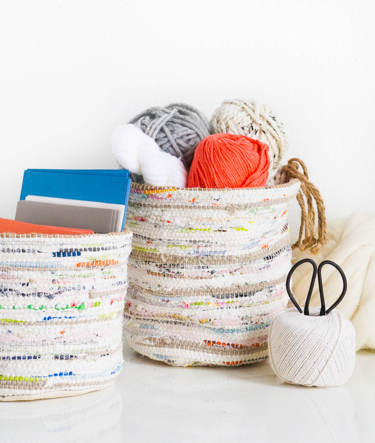 DIY Rag Rug Storage Baskets