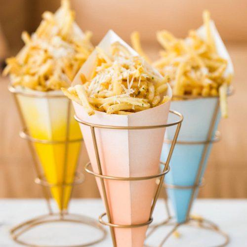 DIY Ombre Fry Stands and Parmesan Garlic Recipe by Ashley Rose of Sugar & Cloth, an award winning DIY blog.