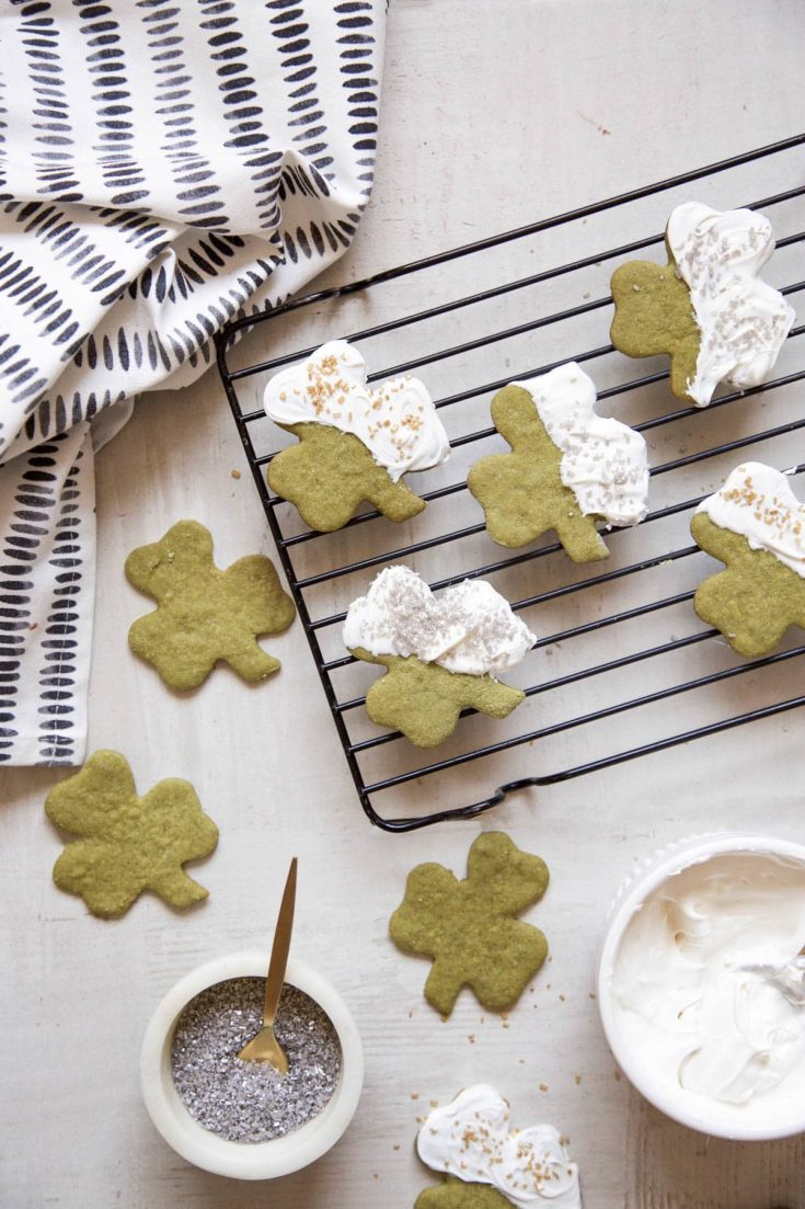 White Chocolate Shamrock Matcha Cookies