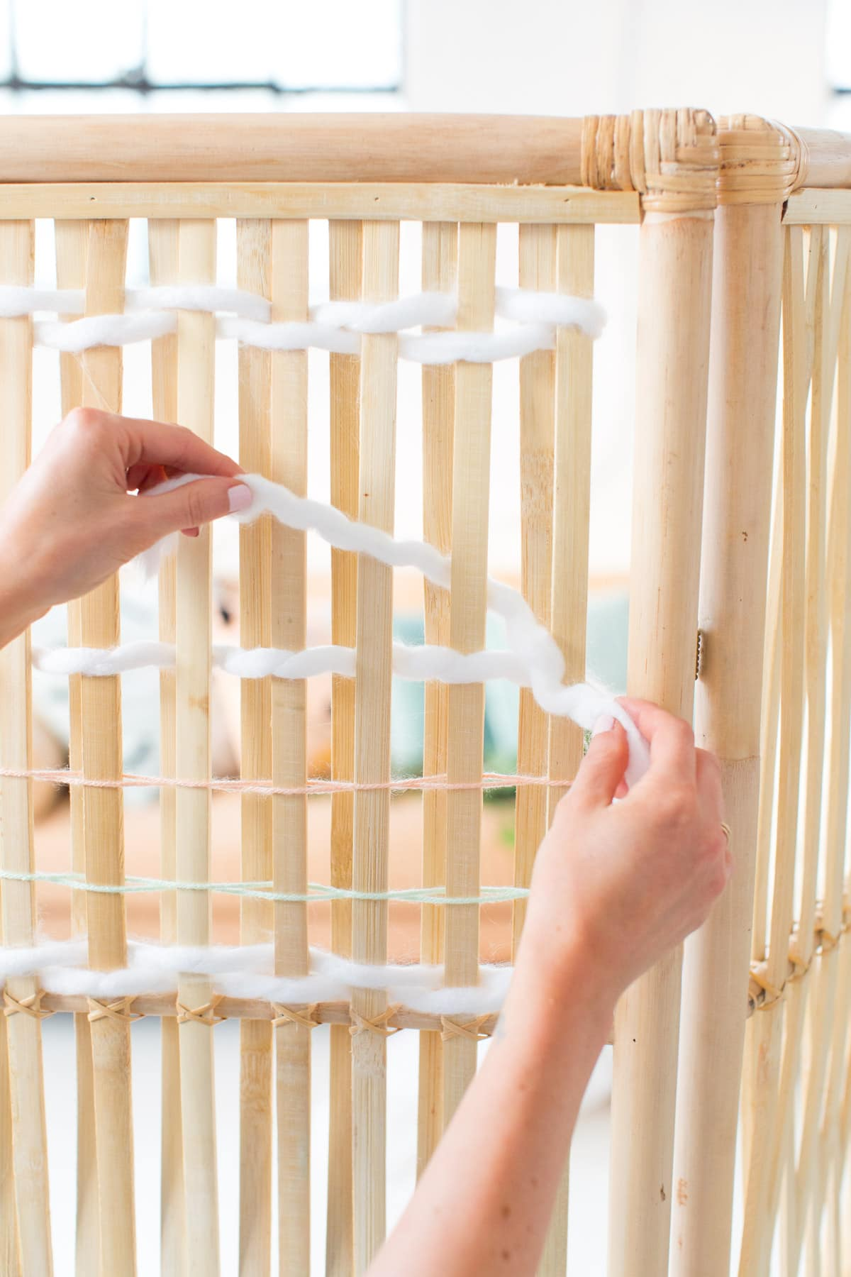 DIY Ikea Hack Woven Room Divider by top Houston lifestyle blogger Ashley Rose of Sugar and Cloth