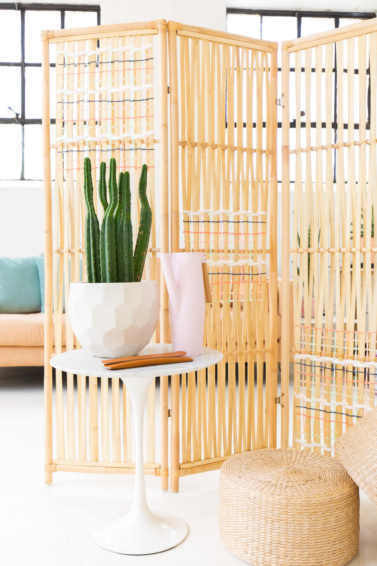 diy ikea hack woven room divider sugar cloth diy. Black Bedroom Furniture Sets. Home Design Ideas
