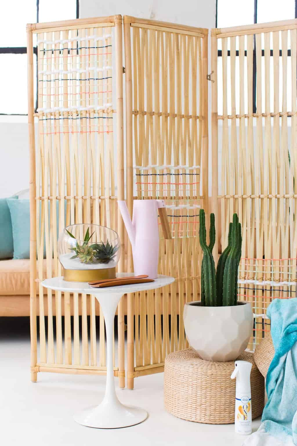 DIY Ikea Hack Woven Room Divider Sugar Cloth DIY