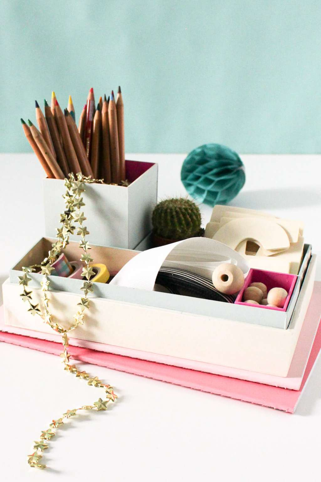 Diy nesting desk organizer sugar cloth diy projects - Desk organizer diy ...