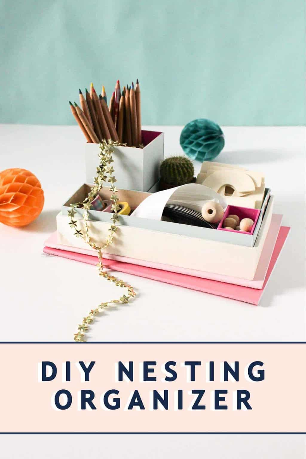 photo of an office diy nesting organizer by top Houston lifestyle blogger Ashley Rose of Sugar & Cloth