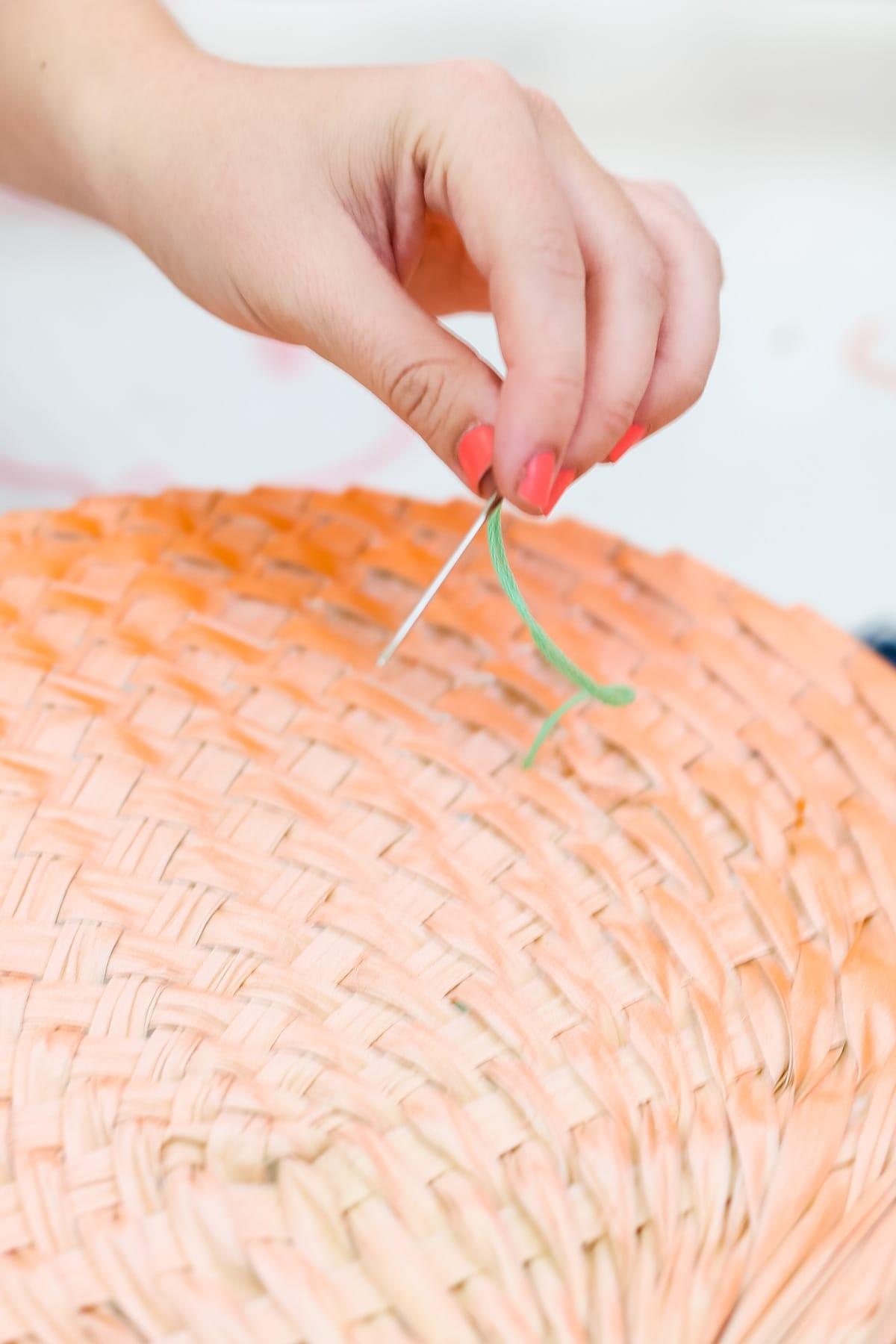 DIY Geometric Embroidered Fans by Ashley Rose of Sugar & Cloth, an award winning DIY blog.