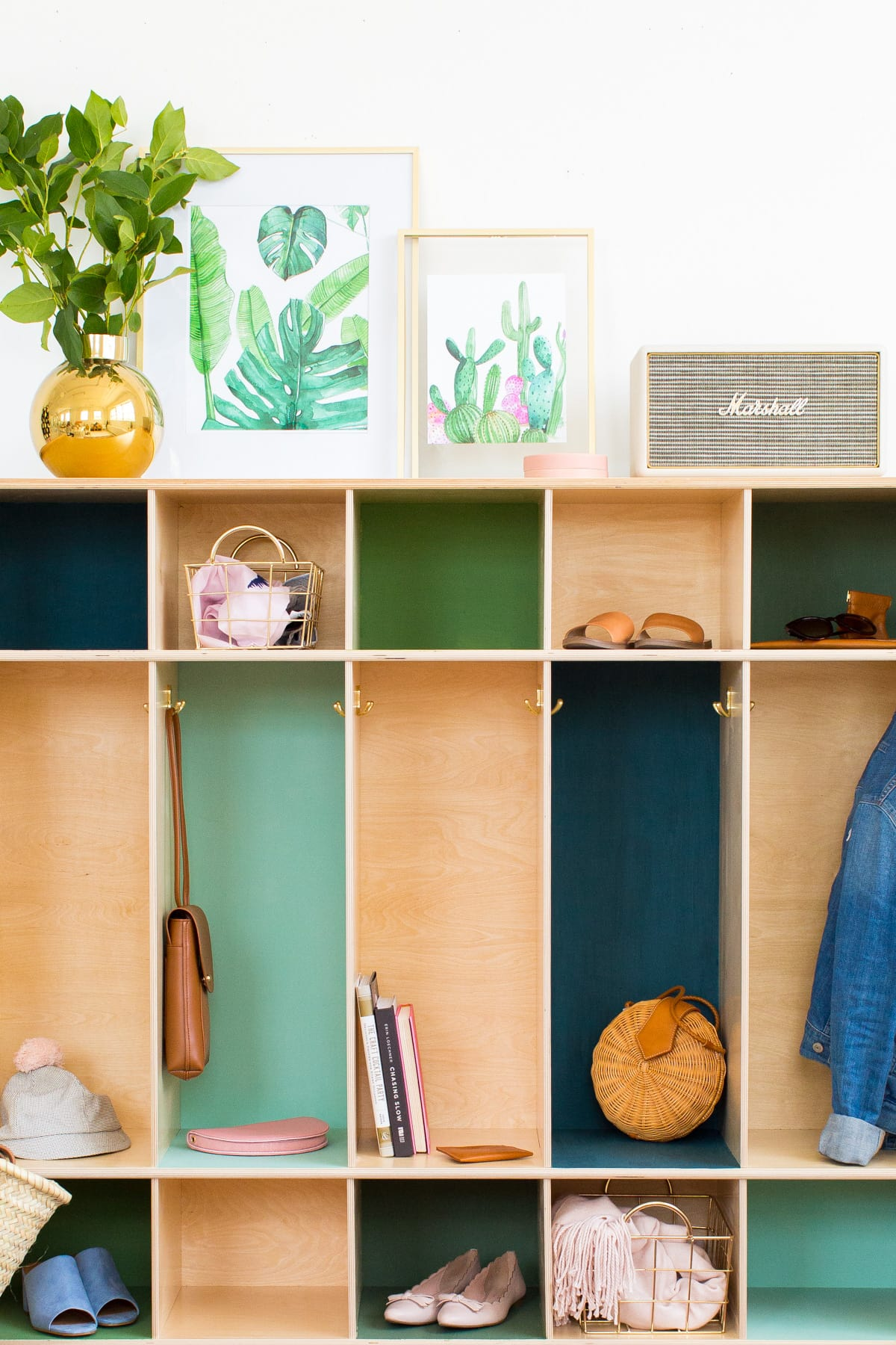 DIY Color Block Storage Lockers by top Houston lifestyle blogger Ashley Rose of Sugar & Cloth