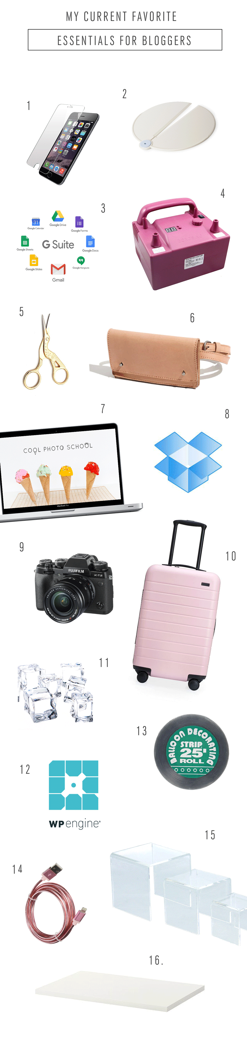 My Current Favorite Essentials for Bloggers by Ashley Rose of Sugar & Cloth, an award winning DIY blog.