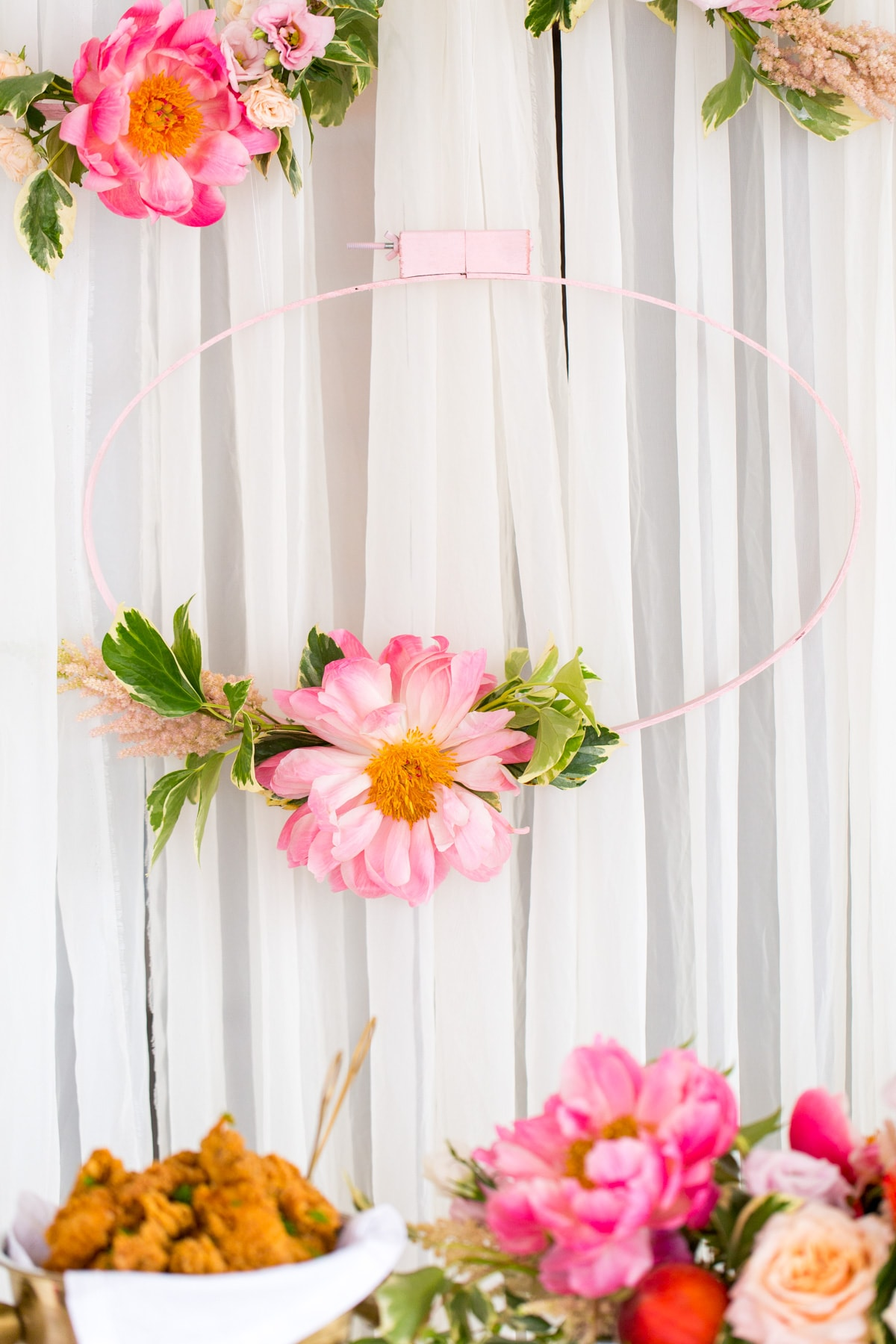 DIY Floral Embroidery Ring Backdrop by Ashley Rose of Sugar & Cloth, a lifestyle blog in Houston, TX