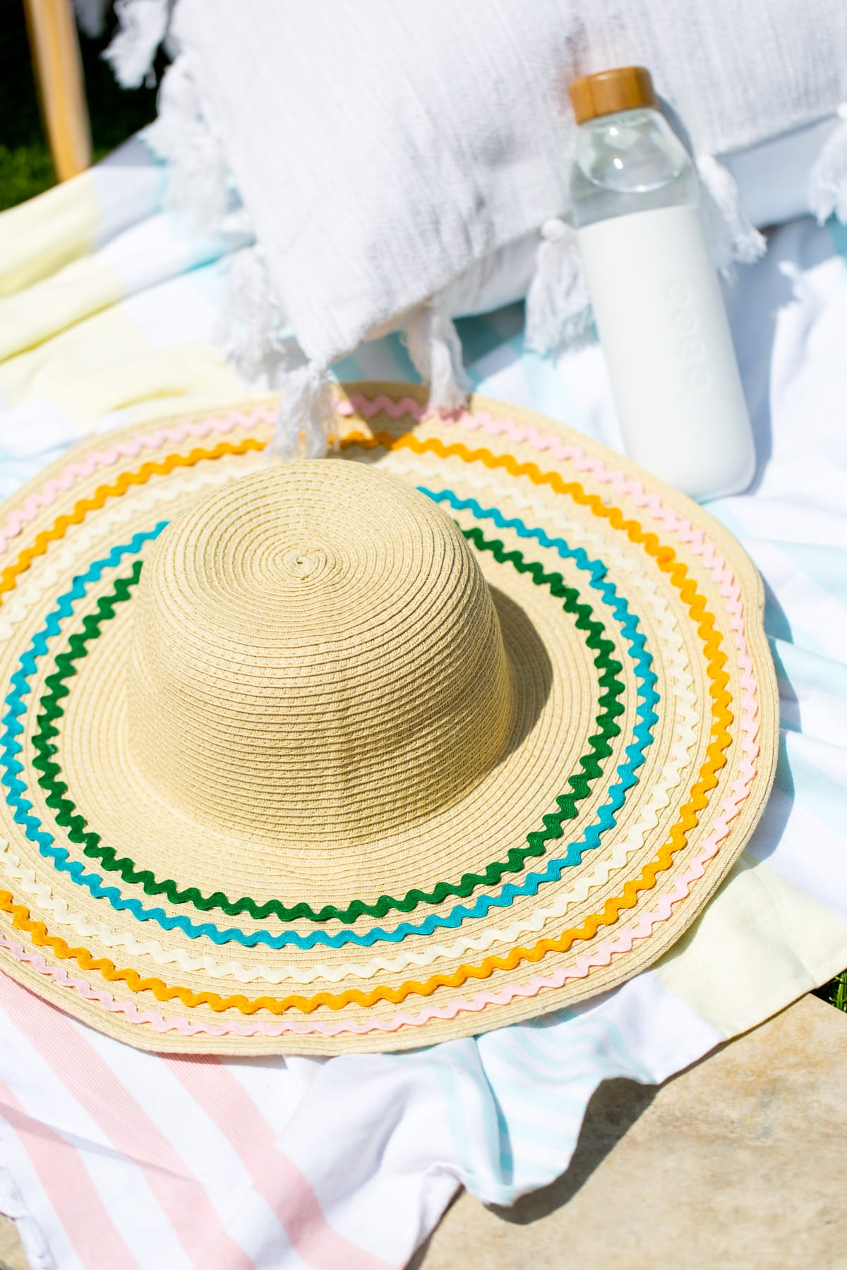 DIY ric rac summer hat by top Houston Texas lifestyle blogger, Ashley Rose of Sugar & Cloth