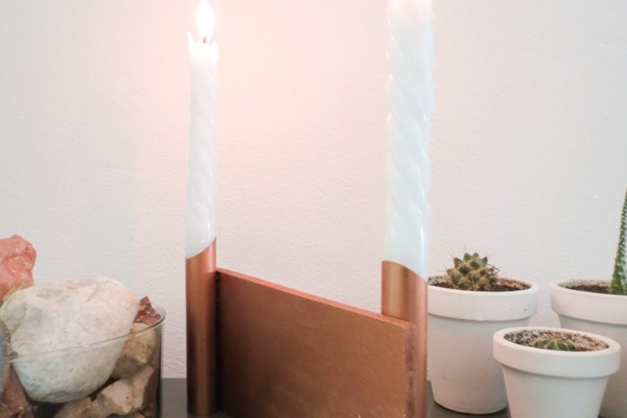 DIY Dual Copper Candle Holder by Ashley Rose of Sugar & Cloth, a top lifestyle blog in Houston, Texas