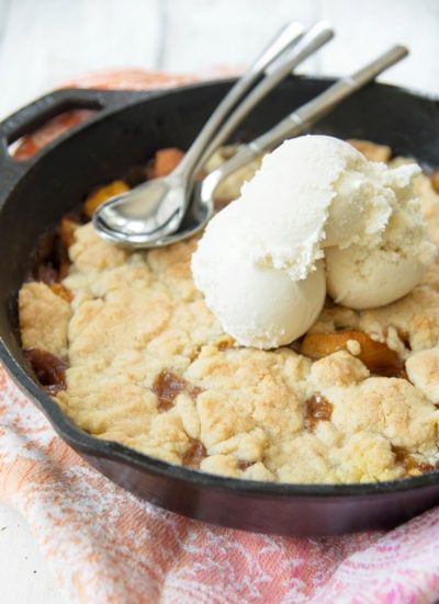 Skillet Peach Cobbler Recipe by Ashley Rose of Sugar & Cloth, a top lifestyle blog in Houston, Texas