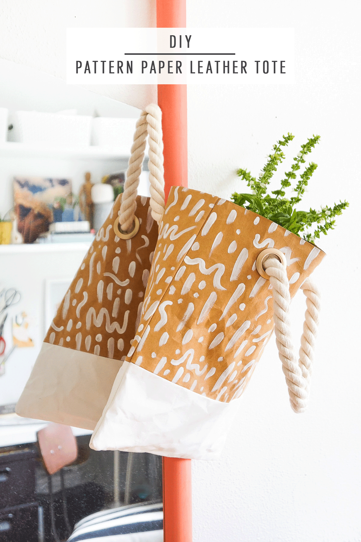 DIY Pattern Paper Leather Tote by Ashley Rose of Sugar & Cloth, a top lifestyle blog in Houston, Texas