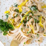 Roasted Garlic White Bean Alfredo Recipe by top Houston lifestyle blogger Ashley Rose of Sugar and Cloth