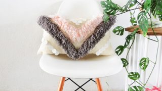 DIY Yarn Fringed Throw Pillow