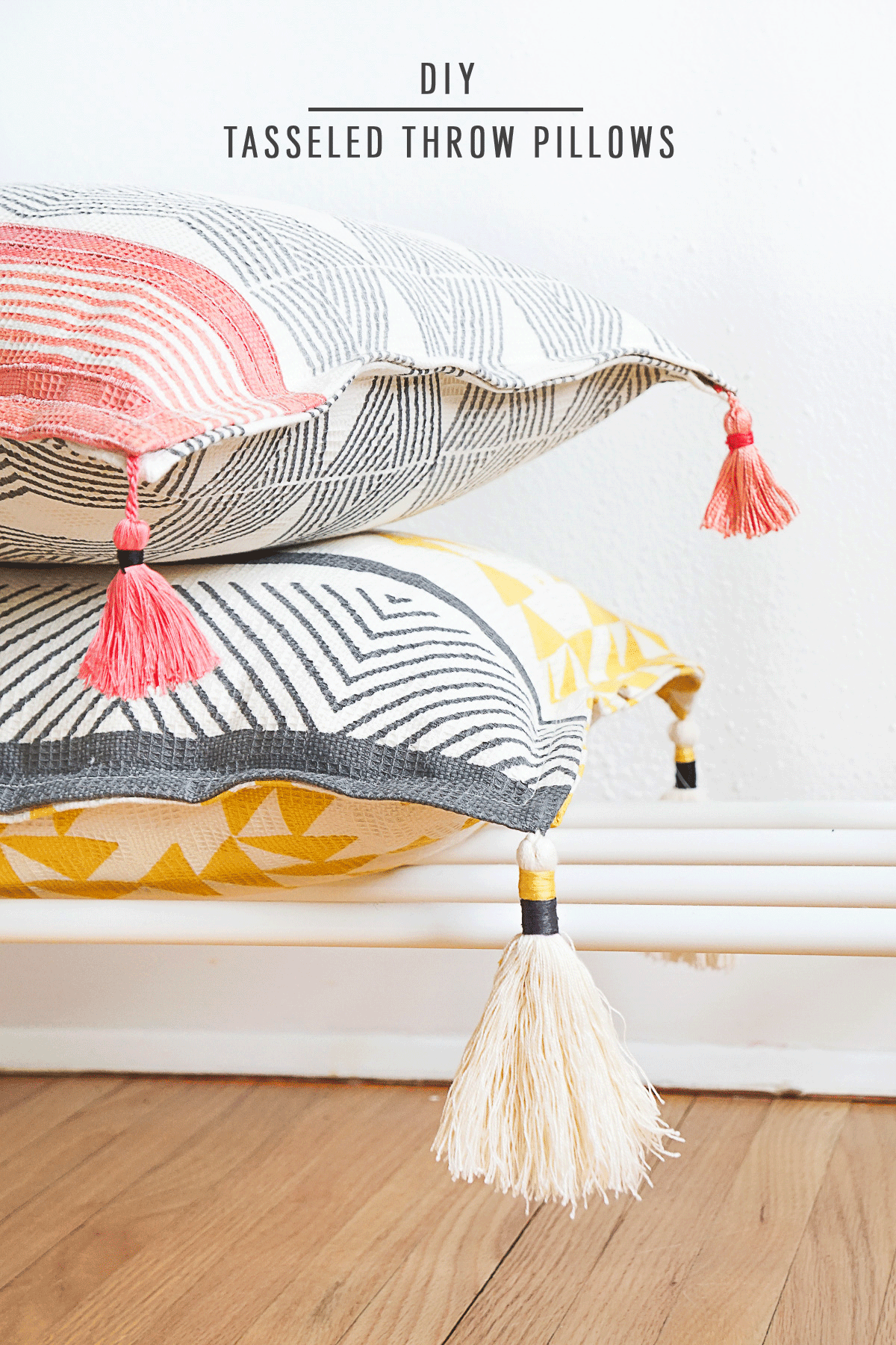 DIY Tasseled Throw Pillows by Ashley Rose of Sugar & Cloth, a top lifestyle blog in Houston, Texas