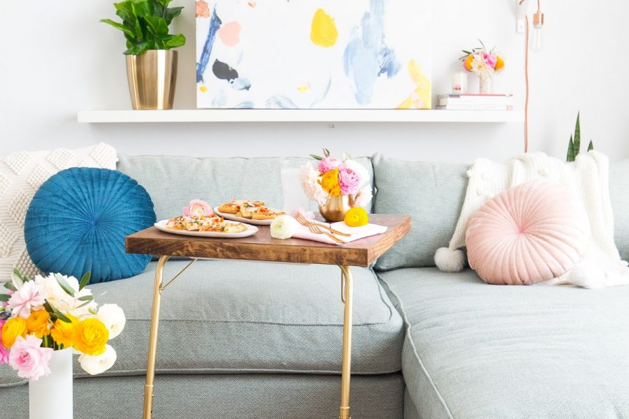 Date Night In: DIY TV Tray Table & Folded Heart Napkins by top Houston lifestyle blogger Ashley Rose of Sugar and Cloth