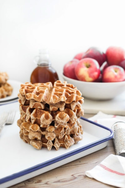 Spiced Cinnamon Apple Waffles with Bourbon Syrup by Ashley Rose of Sugar & Cloth, a top lifestyle blog in Houston, Texas