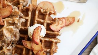 Spiced Cinnamon Apple Waffles with Bourbon Syrup