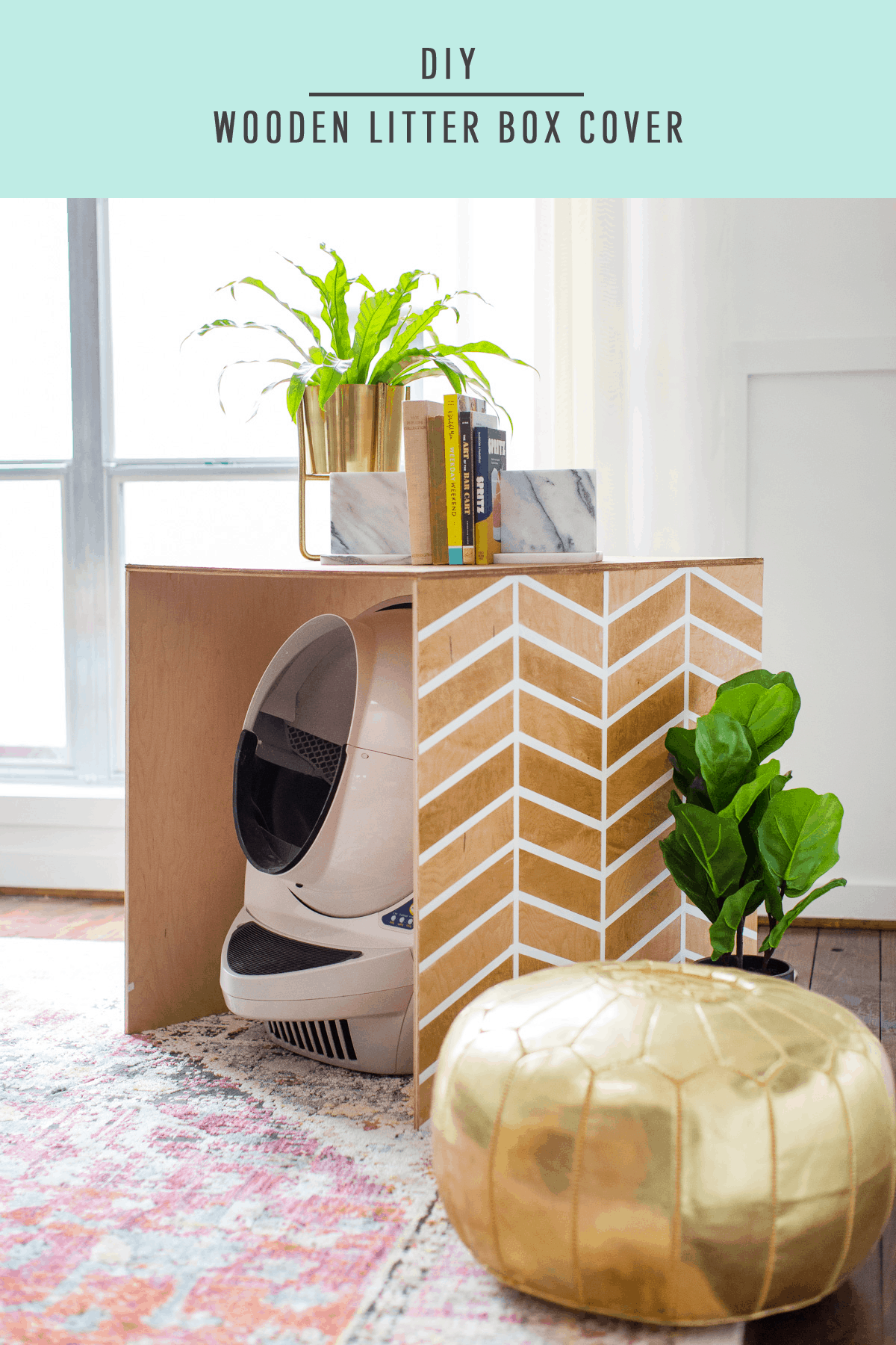 Patterned DIY Litter Box Cover by Top Houston Blogger Ashley Rose of Sugar & Cloth