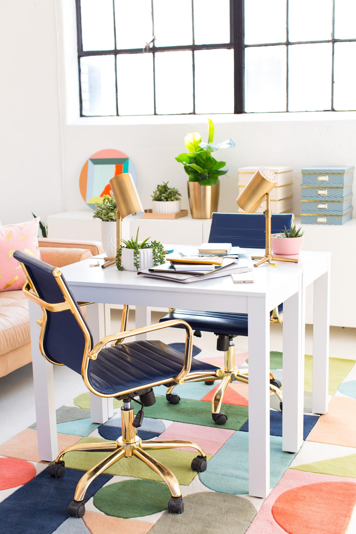 bright office. Modern Interiors: Bright Office Space Inspiration By Top Houston Lifestyle Blogger Ashley Rose Of Sugar