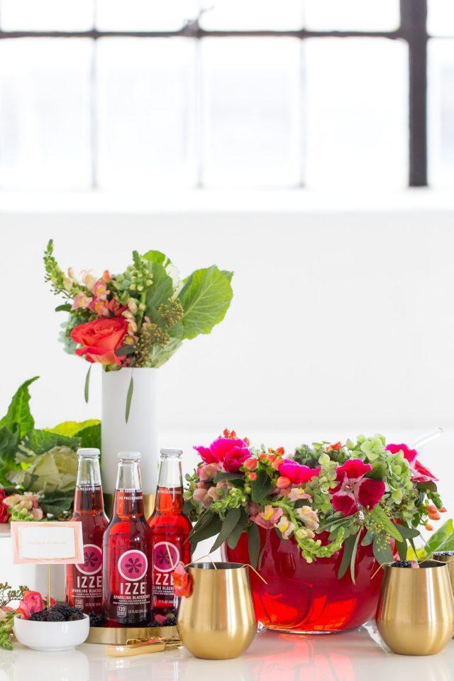 DIY Floral Punch Bowl Wreath + Sparkling Blackberry Mocktail Recipe