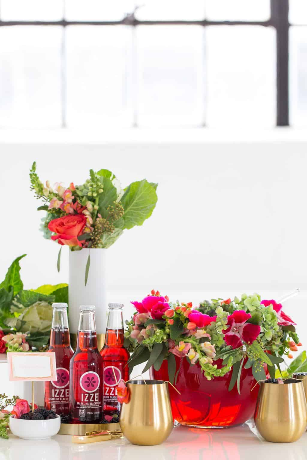 DIY Floral Punch Bowl Wreath + Sparkling Blackberry Mocktail Recipe by top Houston lifestyle blogger Ashley Rose of Sugar & Cloth