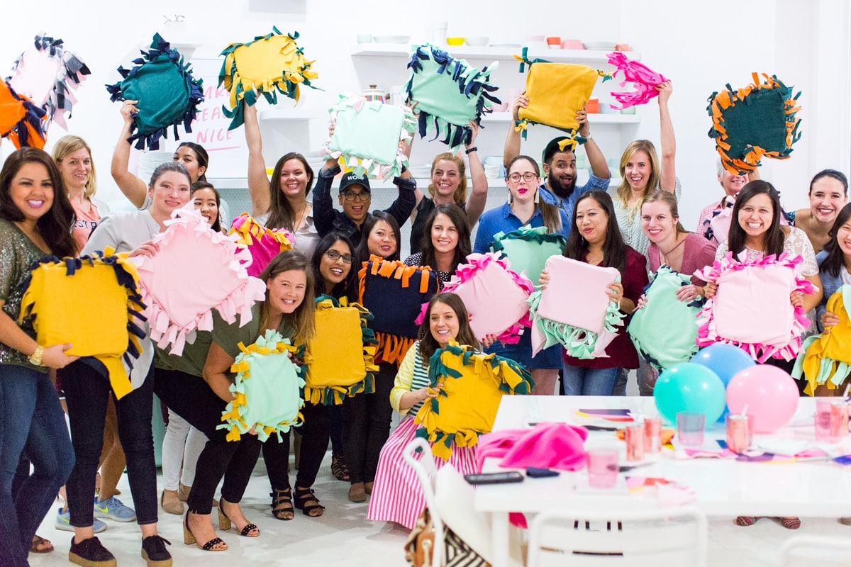 DIY No-Sew Pet Pillows + DIY Charity Workshop Recap at the Studio (+ Video!) by top Houston Lifestyle blogger Ashley Rose of Sugar & Cloth