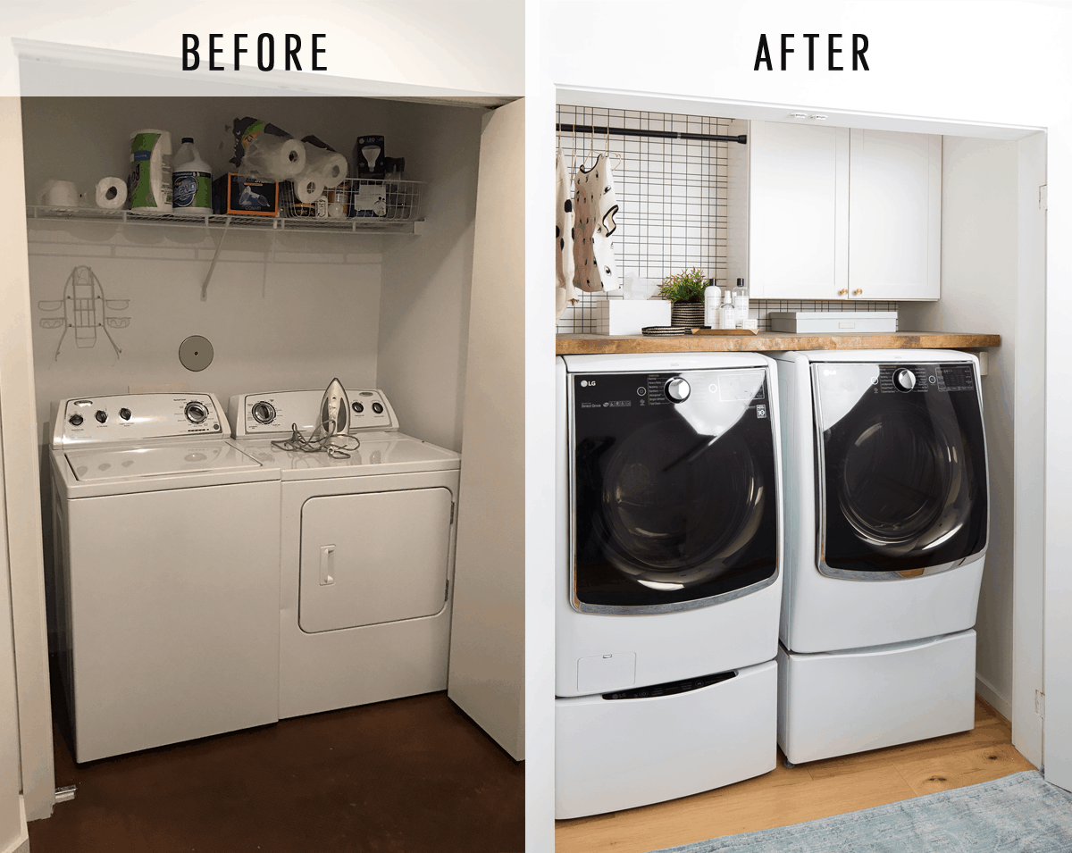 Big reveal before after of our laundry room makeover 2 minute big reveal before after of our laundry room makeover 2 minute diy dryer solutioingenieria Image collections