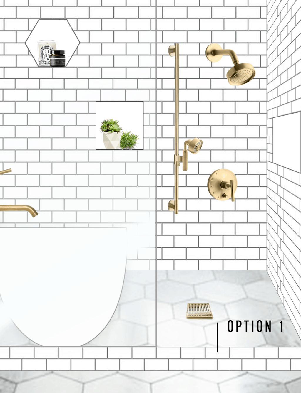 One Room Challenge Week 2: Our Master Bath Design Plan + Help us Pick! by top Houston lifestyle blogger Ashley Rose of Sugar & Cloth