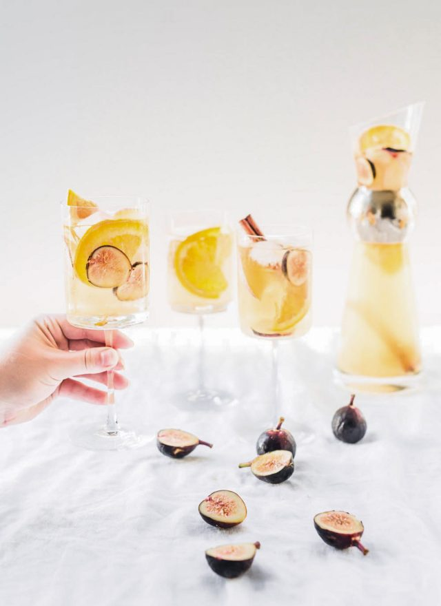 photo of a white wine sangria recipe with figs