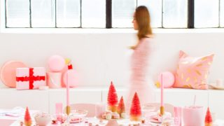 A Perfectly Pink Holiday Party Table