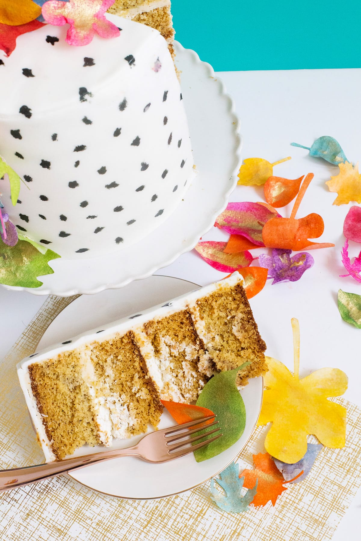 Colorful Leaves Chai Spice Cake Recipe by top Houston lifestyle blogger Ashley Rose of Sugar and Cloth