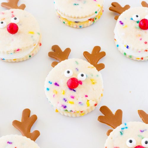 Funfetti Reindeer Cookie Sandwiches Recipe by top Houston lifestyle blogger Ashley Rose of Sugar and Cloth