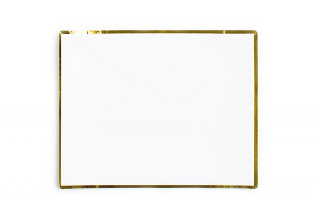 White with Gold Edge Paper Plates  sc 1 st  Sugar u0026 Cloth : rectangle paper plates - pezcame.com