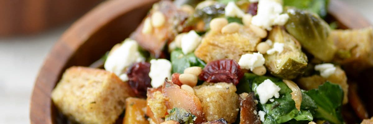 Wintery Panzanella Salad by top Houston lifestyle blogger Ashley Rose of Sugar and Cloth