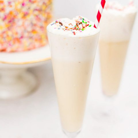 creamy birthday cake cocktail recipe by top Houston lifestyle blogger Ashley Rose of Sugar and Cloth