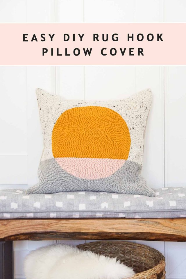 photo of a diy pillow using rug hooking