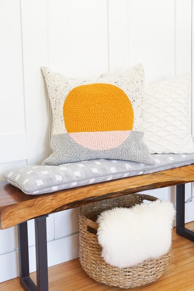 Step 15 -DIY Rug Hook Pillow by top Houston lifestyle blogger Ashley Rose of Sugar and Cloth #rughook #diy #poillow #craft #diypillow #doityourself #pillowcase #homedecor #diydecor