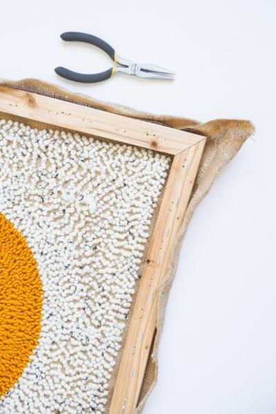 Step 10- DIY Rug Hook Pillow by top Houston lifestyle blogger Ashley Rose of Sugar and Cloth #rughook #diy #poillow #craft #diypillow #doityourself #pillowcase #homedecor #diydecor