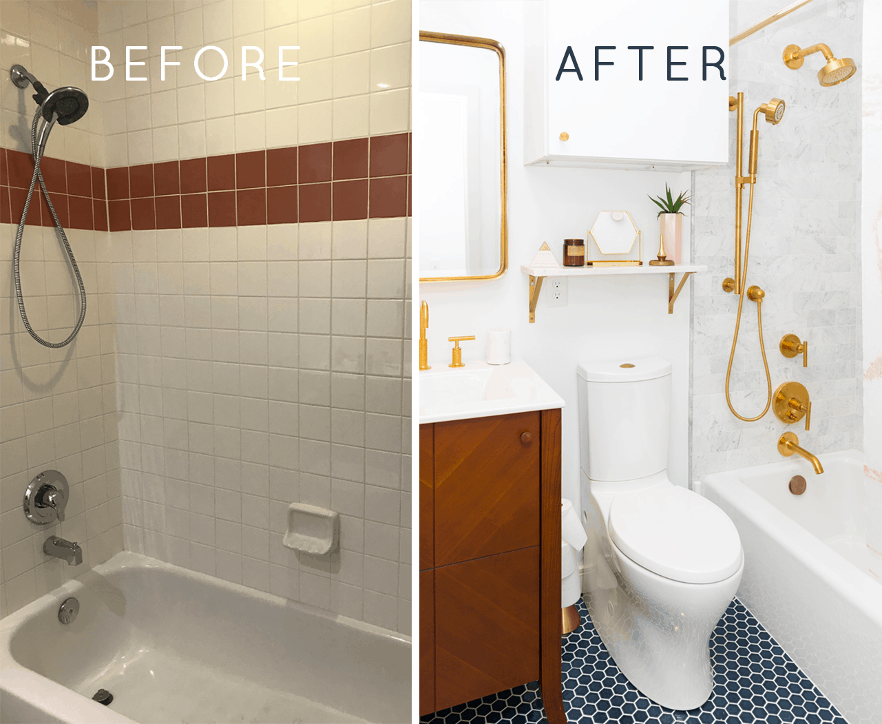 The Before + After of Our Guest Bathroom Makeover! by top Houston lifestyle blogger Ashley Rose of Sugar and Cloth