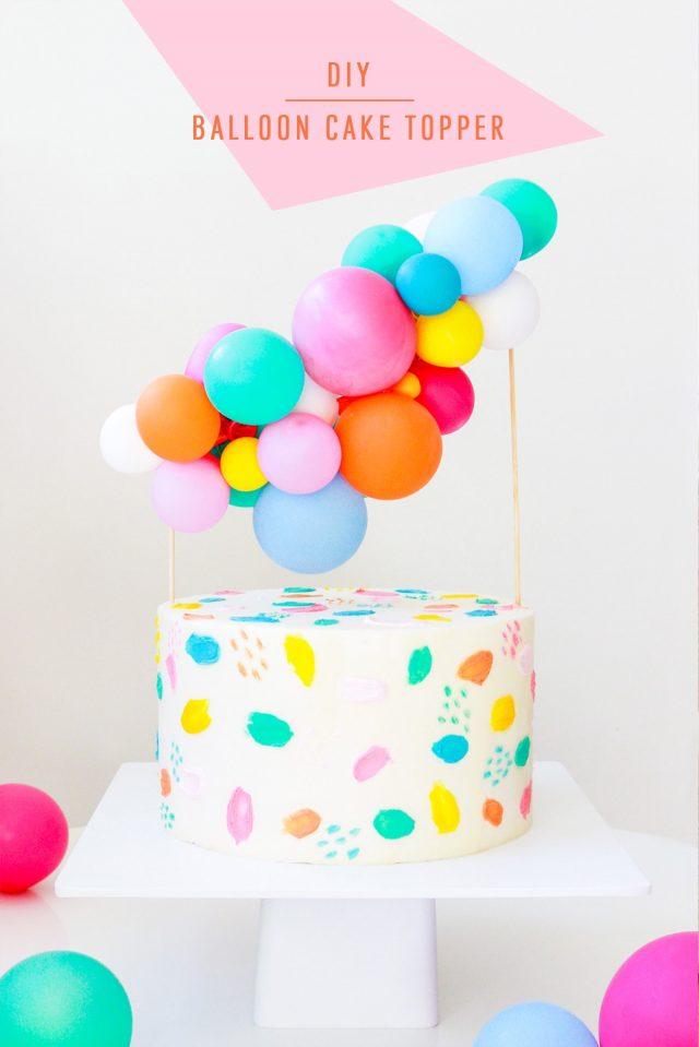 DIY Balloon Garland Cake Topper by top Houston lifestyle Blogger Ashley Rose of Sugar & Cloth - DIY DECOR #DIY #decor #balloon #balloongarland #party #celebrate #birthday #garland #diydecor