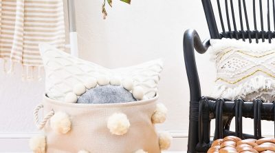DIY Fluffy Pom Pom Bin by top Houston lifestyle Blogger Ashley Rose of Sugar & Cloth