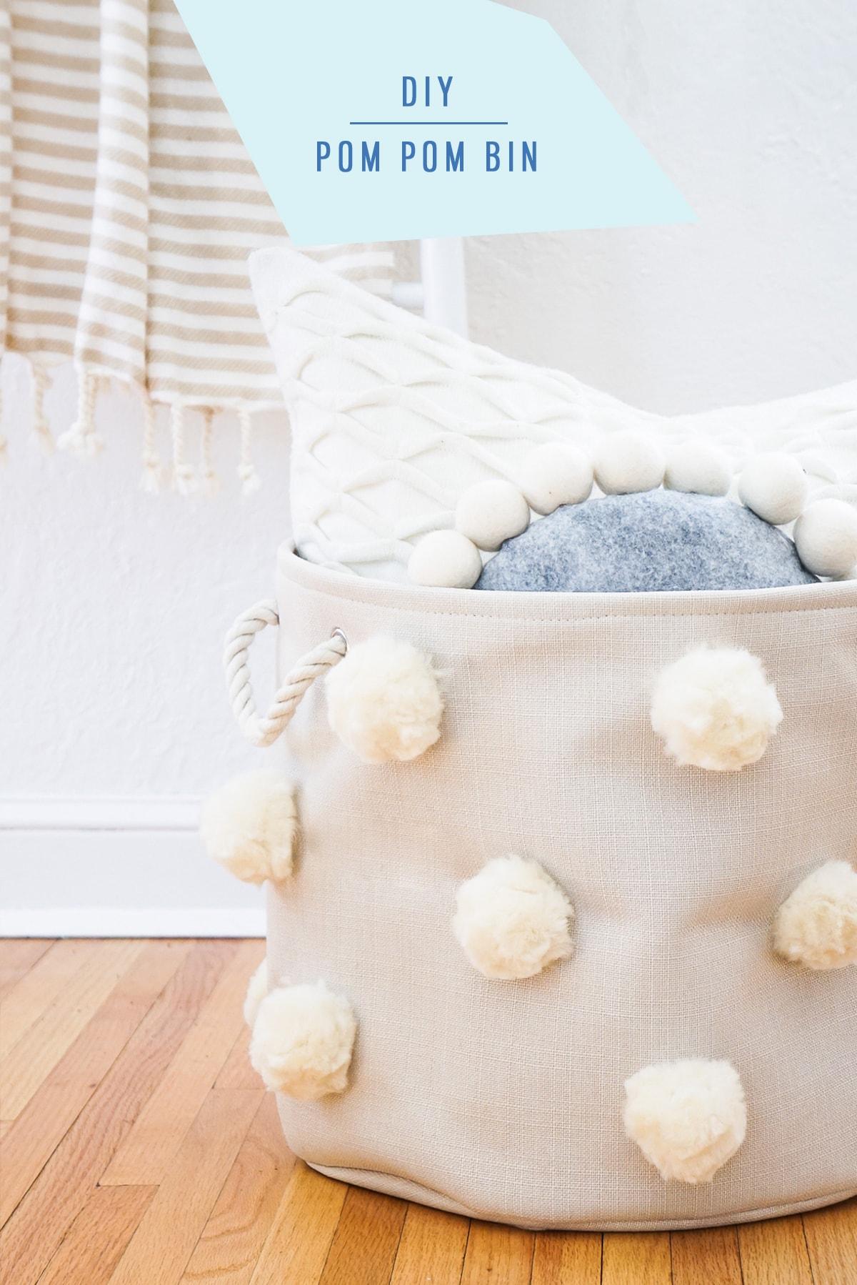 DIY Fluffy Pom Pom Bin by top Houston lifestyle Blogger Ashley Rose of Sugar & Cloth