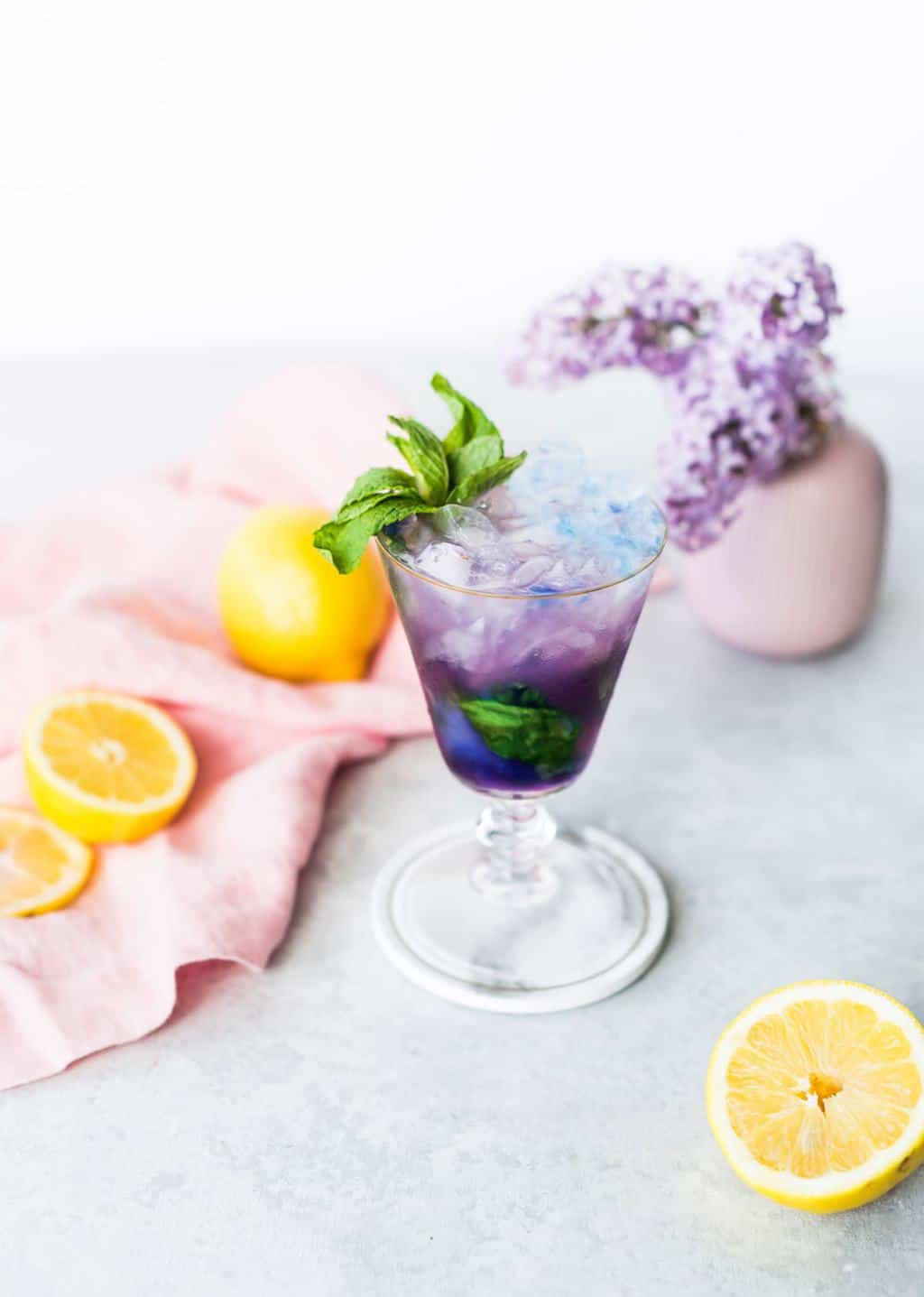 Magic Color Changing Mint Julep Recipe by top Houston lifestyle blogger Ashley Rose of Sugar & Cloth